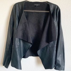 ANGL | open front faux leather jacket